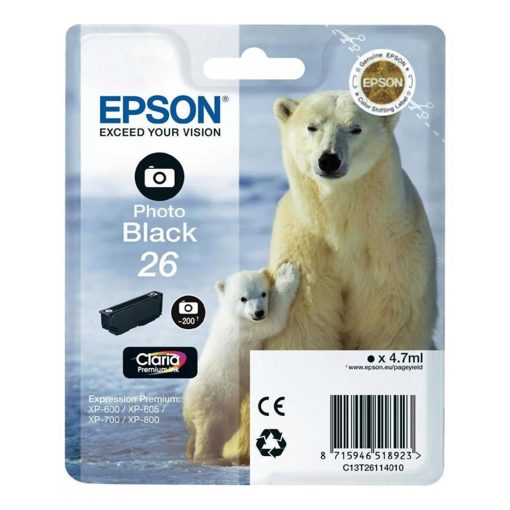 Cartouche d'encre Noir Photo 26 - T2611 | Epson