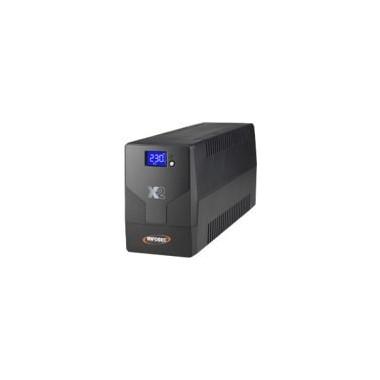 X2 LCD Touch 500VA In-Line - 2 Prises SCHUKO FR | Infosec