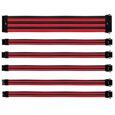 Kit câbles tressés (Red/Black) CMA-NEST16RDBK1-GL | Cooler Master