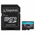 Micro SDHC 64Go Class 10 A2 V30 + Adapt SDCG3/64GB | Kingston
